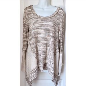 Knox Rose Cream Waffle Knit Long Sleeve Flowy Top